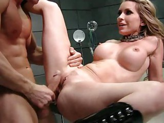 Shaved babe Courtney Cummz slams her awesome twat nice on a meaty stiff cock