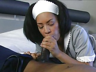 Jazmine Cashmere as a sexy maid sucks and slurps on a huge cock
