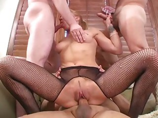 Blonde bitch kirra lynne takes on three cocks at once