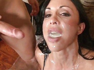 Cum lover Jewels receives a hot reward of cock sauce after a good fuck