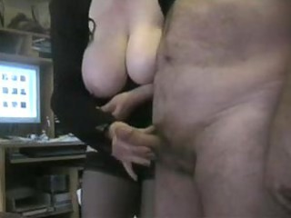 Fat mature in black stockings jacks his bushwa
