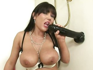 Sexy brunette Claire Dames is slipping something hard hither the brush opening from behind