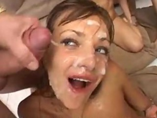 Messy bukkake with pretty brunette