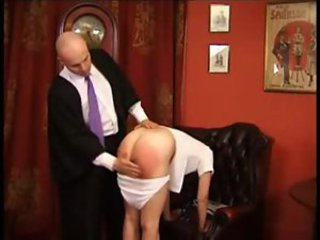 Schoolgirl spanked with various implements