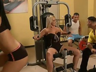 Mia Diamond and Sara Simon Fucked In The Gym In Foursome