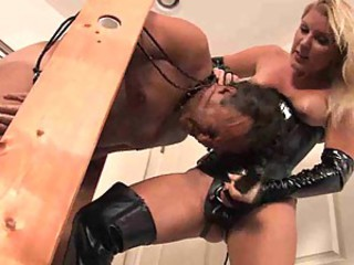 Latex mistress strapon fucks him