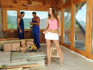 Nick Lang and James Brossman were working on Debbie White's new house when the hot bombshell appeared to check them out. Debbie saw that everything was going alright so she wanted to reward the boys.