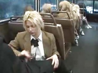 Naughty schoolgirl suck and stroke on the bus
