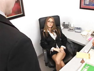 A secretary gets fucked by her coworker, then by her boss