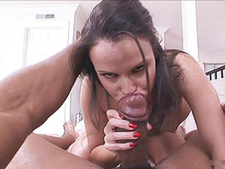 Small titted cock lover Daisy Duxes slobbering on massive black prick