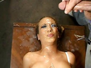 Sexy Jaime Elle getting her sexy face covered with a load of hot jizx