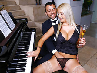 The lovely, Chantelle, was waiting for her piano teacher to come give her a lesson. She was very excited to get her lesson because she waxed her sweet pussy and wore a super sexy dress for him. She ha