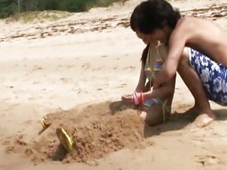 Skinny Asian teen fucked at the beach
