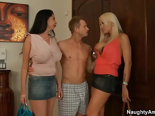 Two milfs. Michelle McLaren and Nadia Night. both with big boobs and long legs meet Nadia's son's friend at home.  He is curious about sex with two busty moms. Slutty big boobed milfs strip. suck and get fucked!
