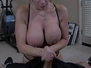 Large Boobed Sara Jay bends down her hound and Swallow a hard...