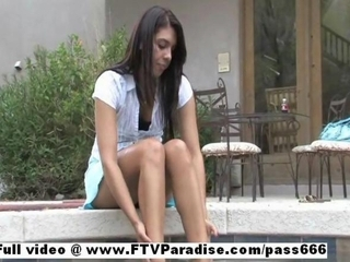 Innocent girl Claire brunette sexy girl public posing and masturbating