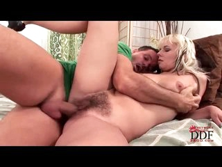 Pretty blonde with hairy cunt fucked hard