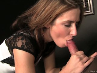 Sheena Shaw is a housewife gets gets face fucked by a dirty priest. He fucks their way pretty face through a gloryhole. She takes off their way tights and spreads their way buttocks while sucking his rod.