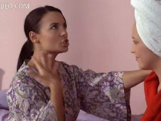 Krista Ayne and Mary LeGault In Sexy Bathrobes - Scene From Life On Top