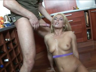 Lustful Blonde MILF Gets Fucked and Facialized In The Kitchen
