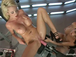 two attractive well stacked babes Courtney Taylor and Kendall Karson get their wet juicy pussies fucked deep by fucking machines by turns. They get more pleasure to each other using their tongues.