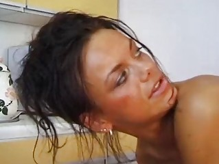 Brunette German Kitchen Mature