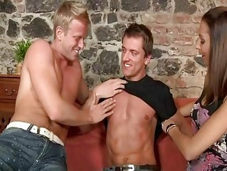 Crazy copulation scene with bisexual guys together with chick