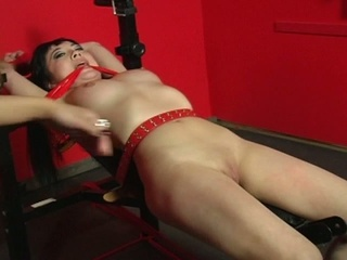 Sexy asian babe tied up, restrianed, bound for your pleasure