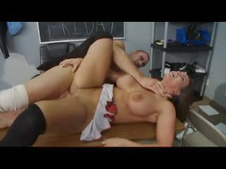 Schoolgirl with massive tits arouses him