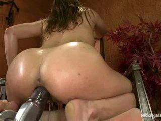 On the brink of legal Ashlynn Leigh goes crazy about sex with fucking machines and can't get enough. She vibrates will not hear of snatch and then takes robotic dildo deep in will not hear of soaking wet hole.