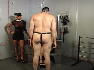 Horny guy chained bounded and whipped