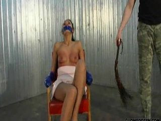 Bondage bitch gets whipped hard