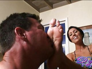 Beautiful hot bitch Dylan Ryder loves to get her foot worshiped by her lover