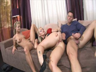Horny housewife invites a friend over for a threesome
