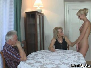 His GF and parents hither hot threesome