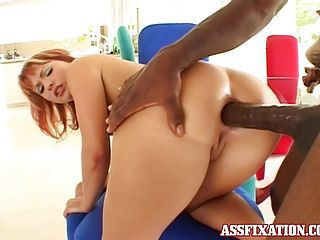 Redhead slut Katja Kassin gets her tight asshole ripped by a black monster cock
