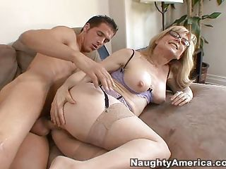 Sexy naked momma Nina Heartley gets pleasured with a thic cock drilling her ass