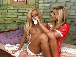 Baby Nicky Angel gets milk distance from her hot baby sitter