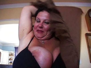 Fat woman uses her incredible tits