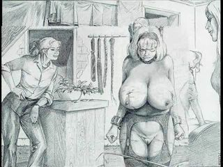 Insidiously a overcome women are bound and tied up with cords around their large bloated breasts for painful sinful torment More horror at wwwWRISTROPEcom