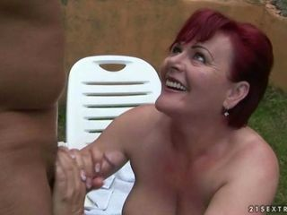 Fat grandma enjoying hard sex