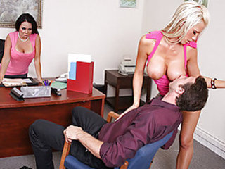 Mr. Ash, a workers rights employee is talking to company manager, Holly West about a lady who feels she has been discriminated against because of her petite breasts. Holly calls in Tanya to show Jordan what the company is all about. Jordan quickly f