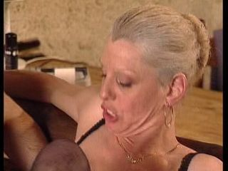 Granny takes a dick in her ass fist in pussy