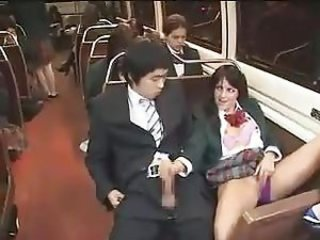 asian guy gets a handjob in a bus in front of hot bitches