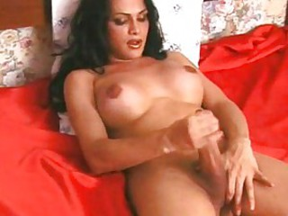 Latin shemale wanking with you