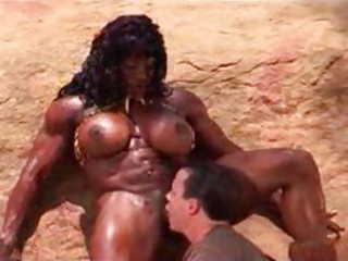 Muscular black chick fucked in the desert