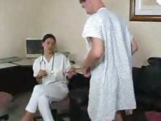 Sexy doctor gives patient a handjob