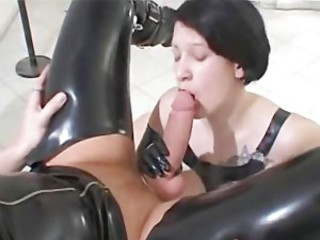 Latex fetish fuck and facials