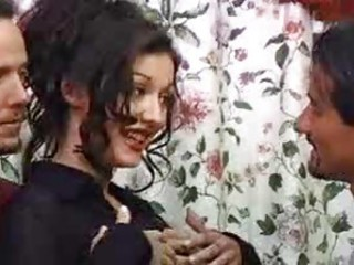 Double penetration of a pretty dark-haired wholesale