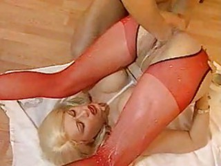 Fisting the blonde slut so naughty